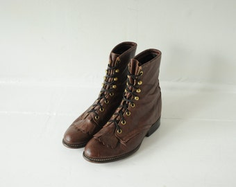 Vintage Laredo Brown Leather Roper Boots, Made in USA, Womens 6