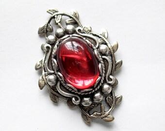 Lovely Dark Rose Antiqued Silver Filigree Pendant