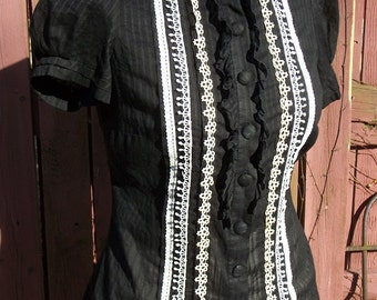Black & Cream Sheer Ruffle Blouse with Vintage Crochet Trim - Altered Clothing - Small