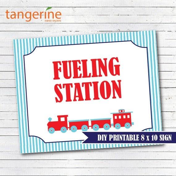 train birthday train sign fueling station diy printable