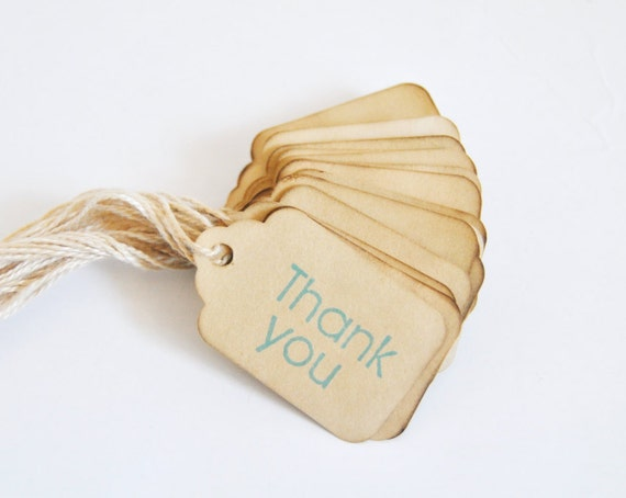 24 XS Thank You miniature Coffee stained vintage inspired favor gift tags. primitive. rustic. wedding. scrapbooking