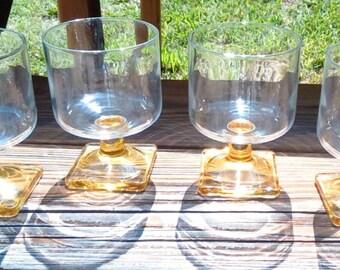 Vintage Federal Glass Nordic Topaz Pattern, Yellow Square Base Wine Glasses, Glassware, Barware, Stemware