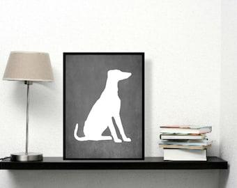 Modern Greyhound Art Print, Chalkboard, Greyhound Silhouette, Dog lover Gift