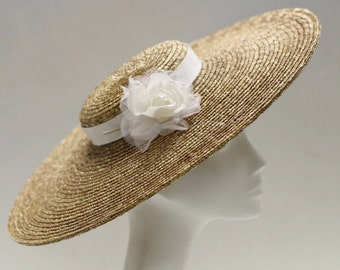 The Astrid Wedding Hat - Ivory Silk Rose Wedding Fascinator - Straw Fascinator Hat - Wide Brim Straw Hat- Formal Hat - Mother of The Bride