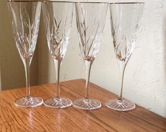 Vintage Crystal Gold Rim Champagne Glasses Set Of 4 Champagne Flutes