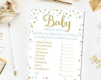Baby Price Is Right Printable Game, Baby Shower Game Printable, Blue and Gold Baby Shower Games, Price Is Right Game Instant Download BB8