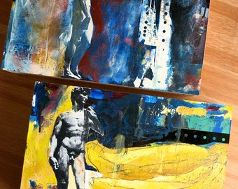 Side View David-Small Abstract Oil Painting-Post Modern Artwork-Oil, Glass & Mixed Media on Panel-Michelangelo's David-Photo Collage Art