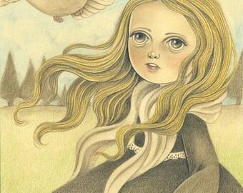 Original Illustration of Girl and Bird, Original Art for Nursery or Girls Room, Pencil Drawing