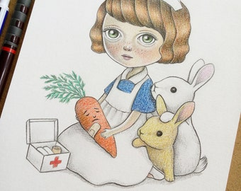 Lowbrow Art, Original Pop Surrealism Drawing, Blythe Doll Inspired Illustration of a Girl Nurse and Cute Bunnies