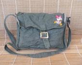 Vintage Kid's Green Canvas Shoulder Strap Purse Cross Body Bag