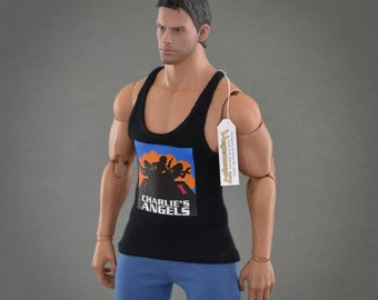 1/6th scale black XXL tank top with Charlie's Angels graphic for Hot Toys TTM 20 size bigger action figures and male fashion dolls