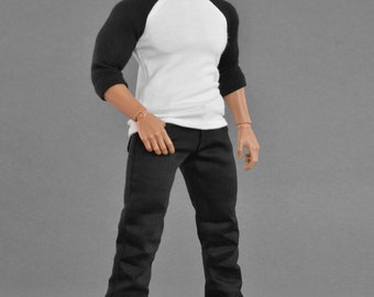 1/6th scale XXL baseball sleeves shirt - black and white for: Hot Toys TTM 20 size bigger figures and male fashion dolls