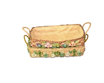 Vintage Woven Straw Baskets Square Baskets Baskets with Handles Raffia Basket With Flowers Wicker Basket
