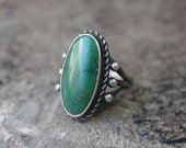 1940's Cerrillos Turquoise Ring / Early Southwest Jewelry / Vintage Sterling Silver Size 7 1/2 Ring