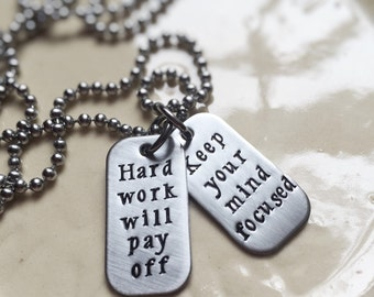Dog Tag Necklace Inspirational Motivational Personalized Mini Tiny Dog Tags Engraved Hand Stamped Silver Gift