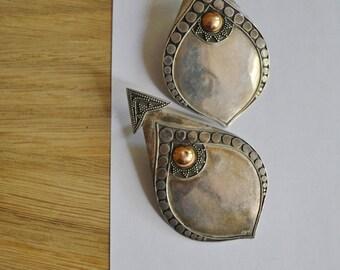 Reserved - Sterling and Gold Huge Studio Tribal Inspired Modernist Earrings