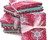 Quilt Fabric Bundle Red Loulouthi Aqua Solid Red and White Polka Dot- Choose Fat Quarters or Half Yards
