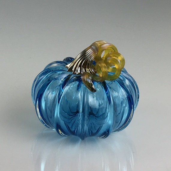 "5"" Glass Pumpkin by Jonathan Winfisky -Limited Edition Transparent Azure Blue - Hand Blown Glass"