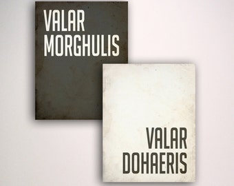 Valar Morghulis Valar Dohaeris Posters / Game of Thrones Poster / Print / Art
