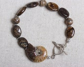 Ammonite Focal with Bronzite and Dzi Beaded Bracelet - Sterling Toggle - Organic