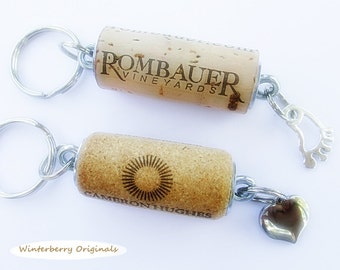Wine Cork Keychain with Your Choice of Charm:  Puffy Heart or Foot - Wine Lover Gift, Stocking Stuffer, Party Favor