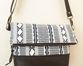 Fold Over Messenger Bag - Adjustable Strap - Faux Leather - Tribal Inspired Print - Aztec Print - Modern Satchel - Crossbody Bag - Navy Blue