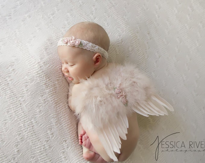 Featured listing image: Vintage Blush Angel Baby Wings and/or Matching Vintage Lace Headband, for a teenie infant, photo shoot, baby photo, by Lil Miss Sweet Pea