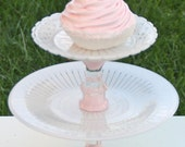 Pink Cupcake Stand Shabby Chic TwoTier Vintage Reclaimed  Serving Platter Made to order