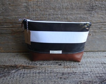 black and white makeup bag