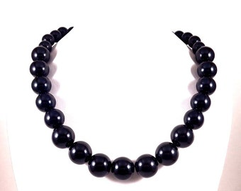 Statement Necklace, Black, Beaded Necklace, Big Necklace, Chunky Necklace, Round Bead Necklace, Black Bead Necklace, Graduated Necklace