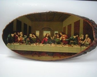 Vintage Print of The Last Supper,Laminated on Tree Truck,Catholic,Religious Figures,Jesus and the Apostles,Housewarming Gift