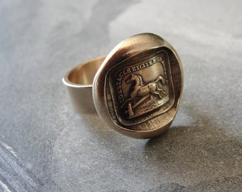 Horse Wax Seal Ring - antique wax seal jewelry Equestrian Horse Jumping motto Obstacles Raise My Passion - size 6 by RQP Studio