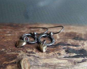 Dainty 14K gold puffed heart and darkened Sterling Silver earrings - Simple elegance minimalist mixed metal earrings - 14 Karat Gold hearts