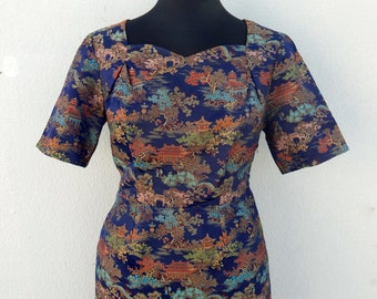 Vintage 50s 60s cheongsam brocade wiggle dress