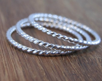 Silver Twist Wire Rope Stacking Ring(s) - Thick Twist Wire Rings - 1.3 mm Argentium Twist Wire Rings - Twist Wire Midi Rings