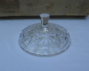 "Vintage Glass Bowl Lid / Clear Cut Glass Lid / 5 3/4"" Replacement Lid / Small Decorative Lid / Dish Lid / Cut Glass Lid / Pressed Glass Lid"