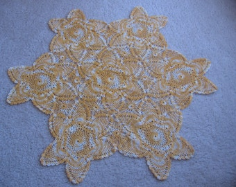 """Variegated Crochet Doily, Vanity Scarf, 22 1/2"""" Large Doily, Table Centerpiece Doily, Cream Yellow Orange, 6 Point Star Doily MyVintageTable"""