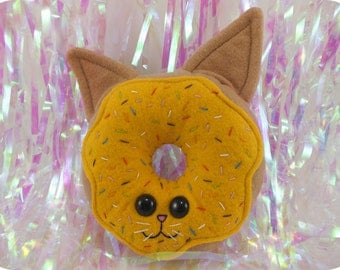 Cat Doughnut with Sprinkles Plush - Yellow