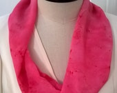 Hot Pink Silk Infinity Scarf - Handcrafted, Hand Dyed Small Georgette Circular Abstract Design Spring, Summer Scarf