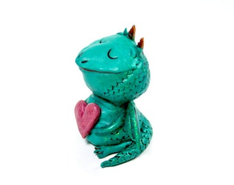 Happy Dragon Figurine - One of a Kind Art Sculpture