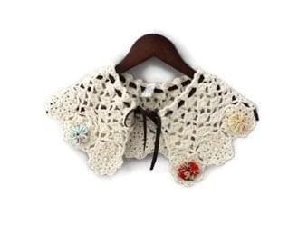 Crochet Necklace - Crochet Collar - Detachable Collar - Necklace - Statement Necklace - Capelet - Crochet Capelet - Crochet Jewelry