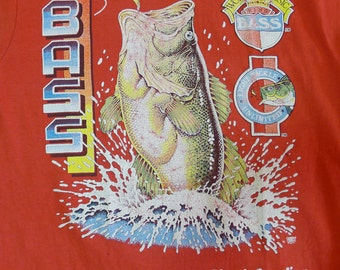 Vintage 90s North Carolina World Classic King Bass Light Tackle Unlimited Red T Shirt