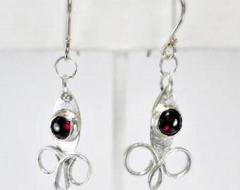 Garnet & Sterling Silver Earrings, AAA 6mm Garnet, January Birthstone, handmade earrings, gift 4 her under 40, trending color, rich deep red