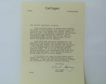 "Very Rare Signed Carl Sagan Planetary Society Invitation Letter Vintage Autographed Letter. Starts; ""Dear Fellow Inhabitant of Earth"" :~)"