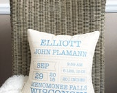"12"" Birth Announcement Keepsake Pillow - Cotton Canvas - Loop and Toggle Closure - Insert Included - Baby Stat Cushion - Baby Info Pillow"