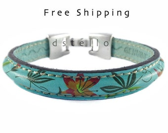 Women's bracelet, Turquoise leather bracelet, Women's gift idea, Custom, Handmade jewelry, Antique silver plated, Spanish leather, Quality