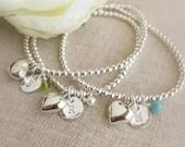 Sterling Silver Birthstone Stretch Bracelet . Charm Bracelet . Heart Bracelet . Birthstone Bracelet . Personalized Bracelet.Initial Bracelet