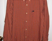 99 CENT SAlE Vintage Men's Orange & Black Plaid Shirt by Chaps Large Now .99 USD