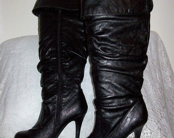 Vintage 90s Ladies Black Leather Thigh High Stiletto Boots by Sweet 554 Size 8 Only 48 USD