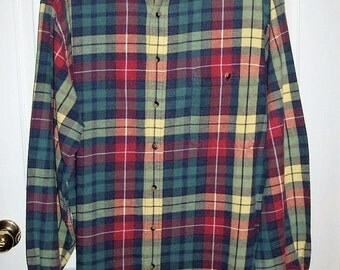 Vintage Men's Multi Color Plaid Shirt by Lands End XL TALL Only 8 USD